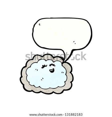 rain cloud with speech bubble cartoon - stock photo
