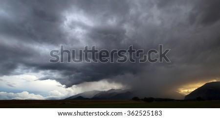 Rain clouds over the San Isabel mountains, Colorado, USA - stock photo