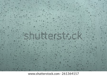 rain droplets in a window glass, gray forecast background  - stock photo