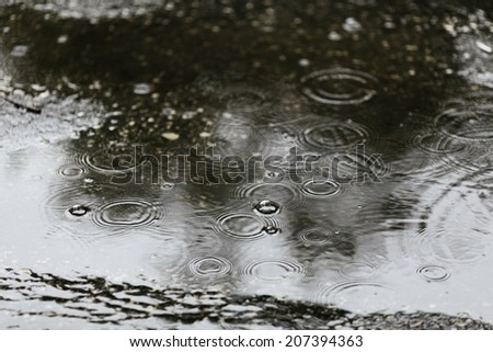Rain drops rippling in a puddle, selective focus - stock photo