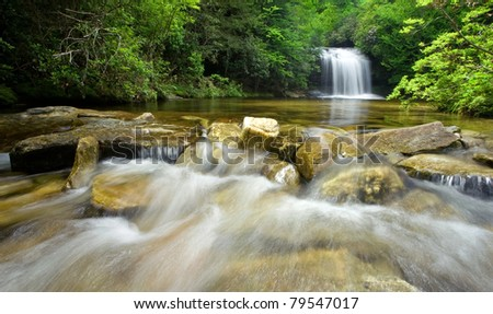 Rain Forest Stream and Waterfall - stock photo