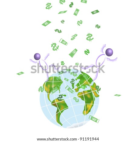 Rain from money falling to the ground - stock photo