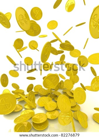 rain from the golden coins. isolated on white. - stock photo