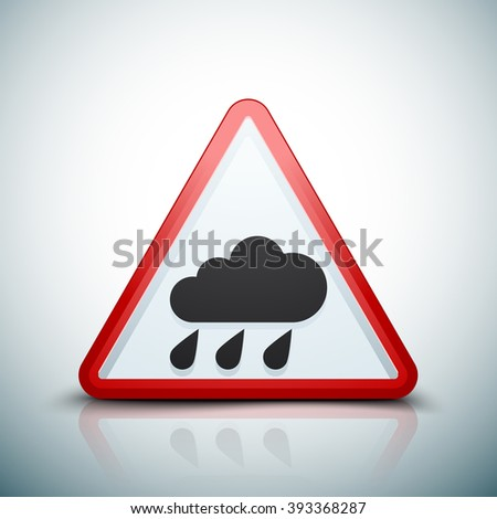 Rain hazard sign - stock photo