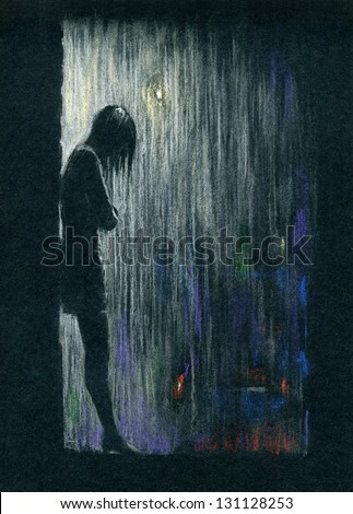 Rain in the night. Silhouette of a woman standing in the rain. Color pastels on black textured paper. - stock photo