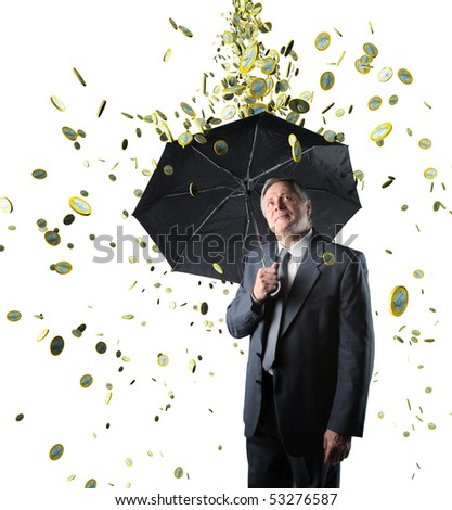 rain money on confident businessman isolated on white background - stock photo