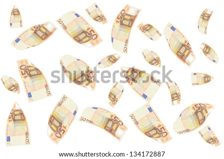 rain of 50 euro bills. Isolated on white background - stock photo