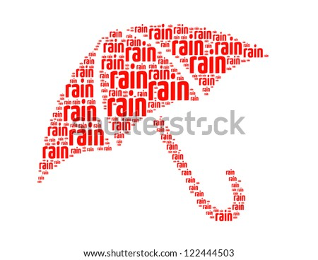 rain text collage Composed in the shape of umbrella an isolated on white - stock photo