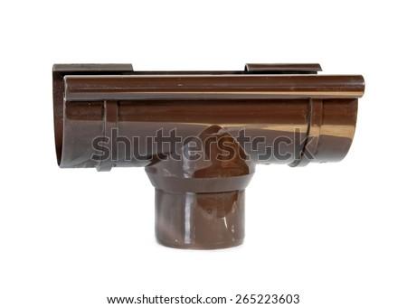 rain water draining gutter downpipe, isolated - stock photo
