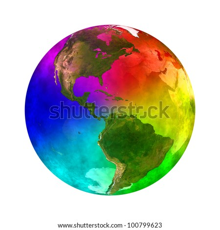 Rainbow and beauty planet Earth - America Elements of this image furnished by NASA - stock photo