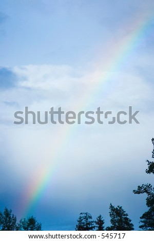 rainbow and clouds - stock photo