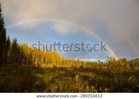 Rainbow and forest landscape - stock photo