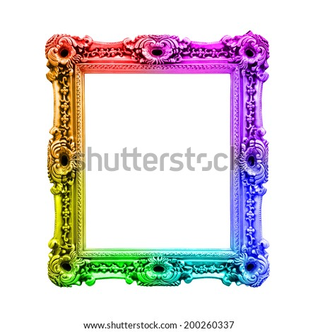Rainbow antique baroque frame, isolated on white background - stock photo