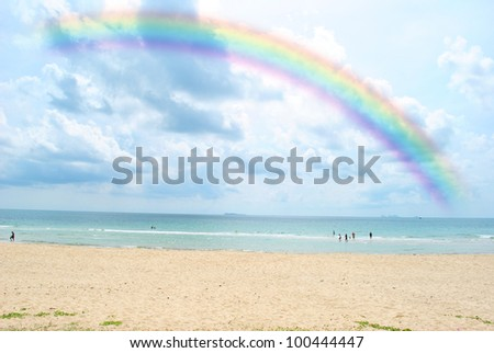 Rainbow beach is very beautiful and wonderful - stock photo