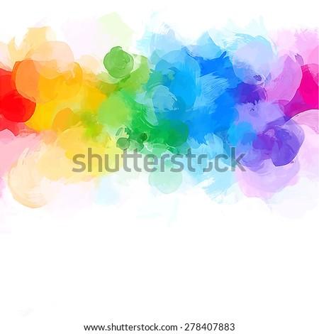 Rainbow big round brush strokes background. Raster version - stock photo
