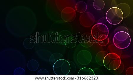 rainbow bokeh light background - stock photo