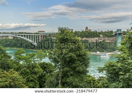 Rainbow Bridge at Niagara Falls - international steel arch bridge across the Niagara River - world-famous tourist site. It connects cities of Niagara Falls, New York (USA) and Niagara Falls (Canada). - stock photo