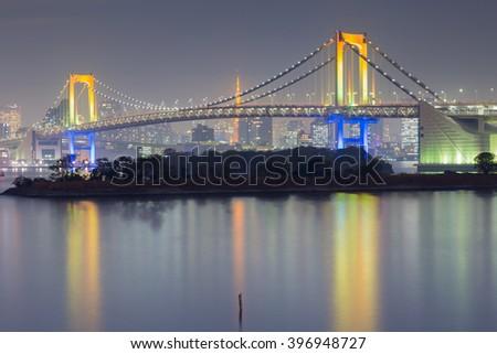 Rainbow bridge waterfront, Odiaba Japan night view - stock photo