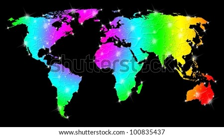 Rainbow Bright World Map - stock photo