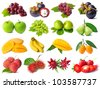 Rainbow collection of fruits - stock photo