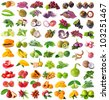Rainbow collection of fruits and vegetables - stock photo