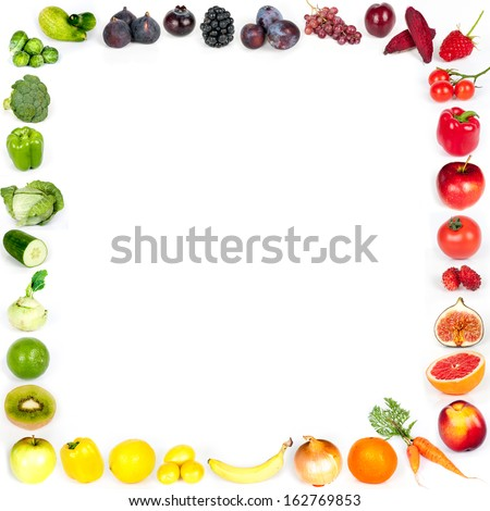 Rainbow collection of fruits and vegetables - frame - stock photo