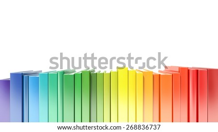 rainbow color hardcover books isolated on white background - stock photo