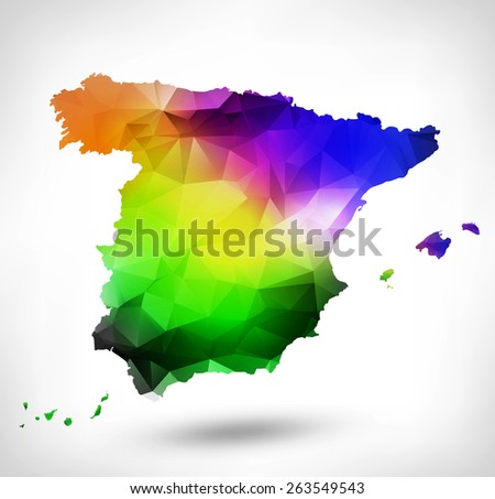 Rainbow color map of Spain with geometric triangle design. Raster version. - stock photo
