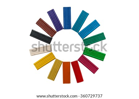 rainbow color modeling clay or plasticine for children isolated on white background - stock photo