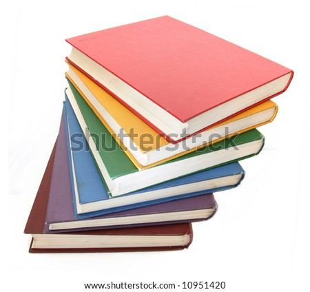 Rainbow colored books isolated on white background - stock photo