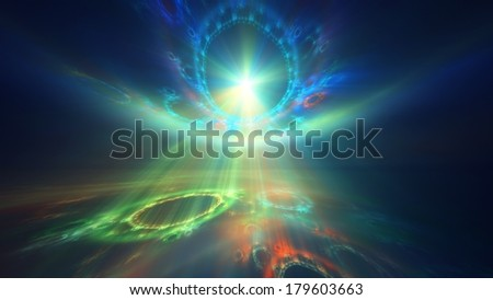 Rainbow-colored burst of fractal light - stock photo