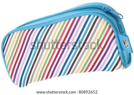 Rainbow Colored Pencil Case Closed Isolated on White with a Clipping Path. - stock photo