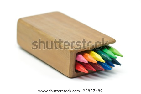 Rainbow Colored pencils in wooden case - stock photo