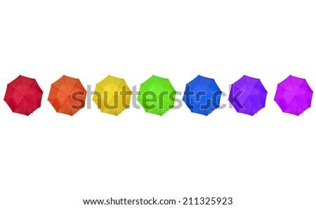 rainbow colored umbrellas on white - stock photo