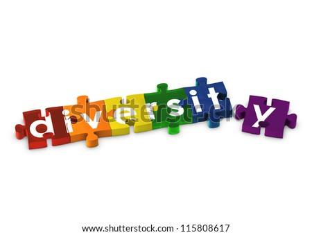 Rainbow coloured jigsaw pieces spelling out DIVERSITY - stock photo