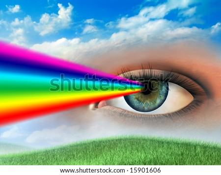 Rainbow coming out of a woman's eye. Digital illustration. - stock photo