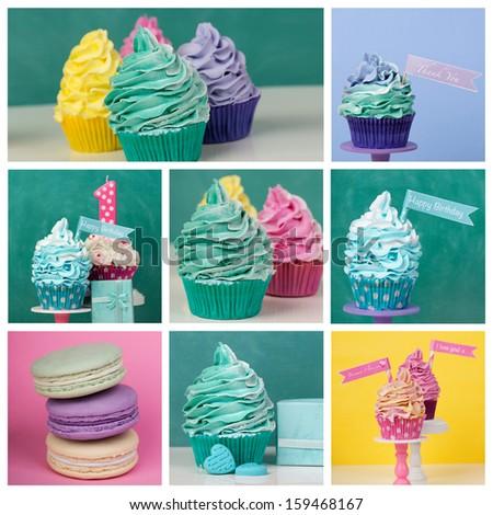 Rainbow cupcake collage happy birthday and macarons - stock photo