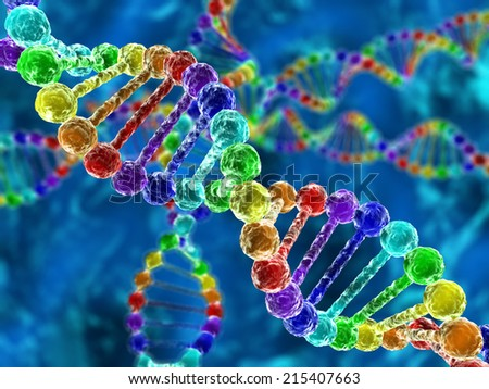 Rainbow DNA (deoxyribonucleic acid) with defocus on background - stock photo