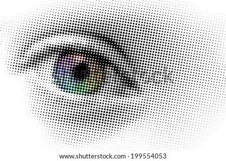 Rainbow eye, pop art with dots, isolated on white background - stock photo