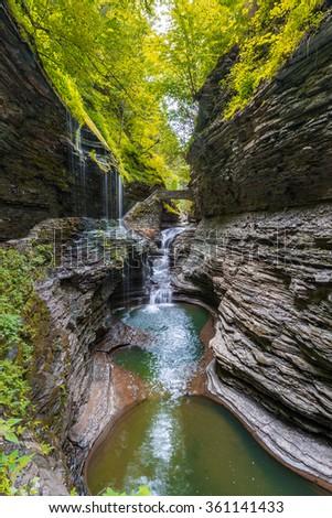 Rainbow Falls of Watkins Glen State Park Finger Lakes region of New York state. - stock photo