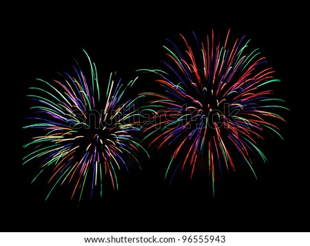 Rainbow firework in the new year festival. - stock photo
