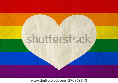 Rainbow flag background with blank heart shape for text on Vintage paper texture - Homosexual, gay and love concept - stock photo