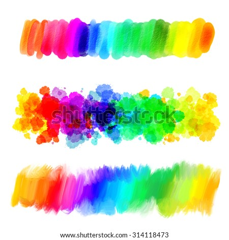 Rainbow gradient. Abstract oil painting. Blank colorful blot. Blurred spot. Blob. Freehand drawing. Conceptual illustration. Isolated on white background - stock photo