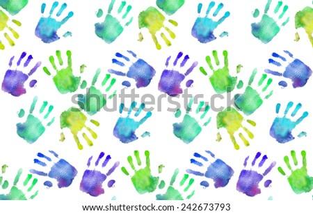 Rainbow handprints. Watercolor pattern                                               - stock photo