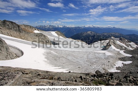Rainbow Icefield near Whistler, BC, Canada. Whistler Blackcomb, the largest ski resort in North America, in the background. - stock photo