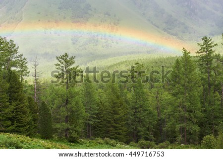 Rainbow in the Altai Mountains. Russia, Siberia, Katun ridge. - stock photo