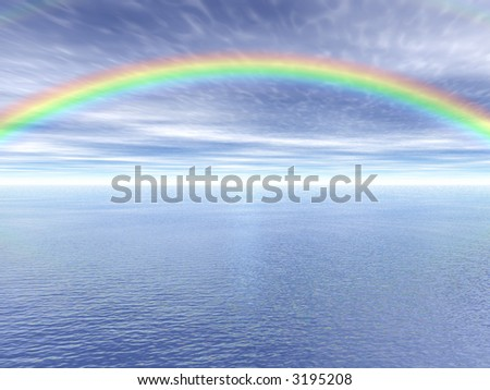 Rainbow landscape - stock photo