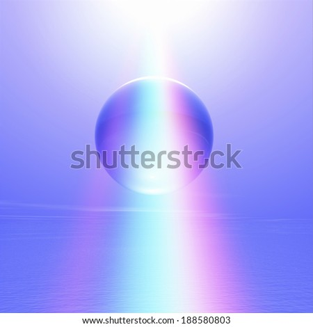 Rainbow light and crystal ball with purple background  - stock photo