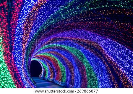 Rainbow Light,The tunnel of rainbow LED light - stock photo