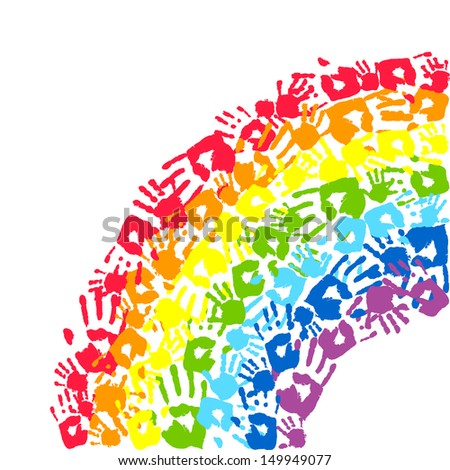 Rainbow made from hands. Abstract background - stock photo